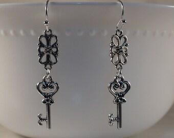 Key Earrings, Silver Key Earrings, Key Pendant, Silver Key Charm Earrings, Edwardian Earrings, Silver Valentines Earrings, Gift For Her