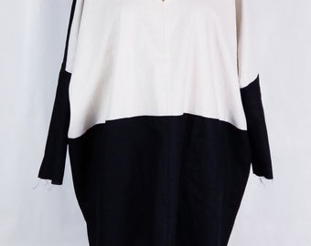 cotton, linen, dress, large blouse, pockets, long sleeves, v neck