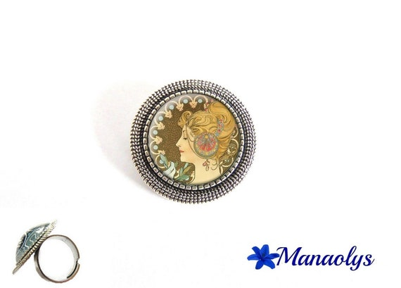 ring adjustable round antique silver, Alfons Mucha, feather, painter, 210 glass cabochons