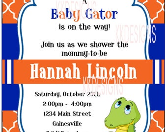 Baby Shower Invitation - Baby Gator -DIGITAL FILE ONLY