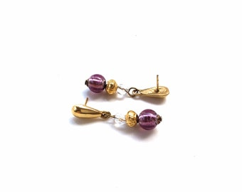 purple and gold dangles earrings pierced small dangles with glass bead