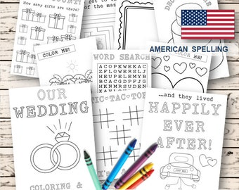 Kids Wedding coloring & activity book -  INSTANT Download - Pdf Reception Game, Coloring pages, Printable coloring activity US Spelling
