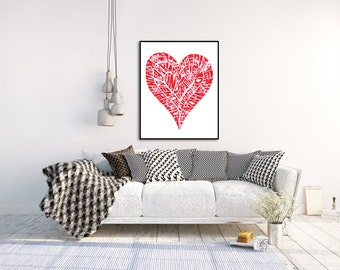 Heart Typography Print, Valentine's Day Art, Heart Wall Art, Typography Art Print, Love Wall Art, Encaustic Art, A4 and A3 size