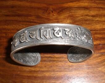 silver bracelet tibetan characters in blackened sterling silver 925