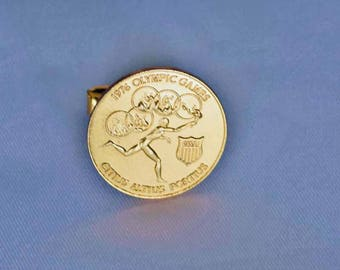 Vintage Single Goldtone Cufflink Souvenir from the 1976 Olympic Games in Montreal Canada