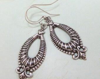 Art Deco Earrings Ear Dangles Antiqued Sterling Silver Bohemian Tribal Earrings