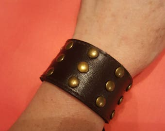 Studded leather cuff