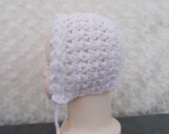 Handmade crochet baby shell bonnet