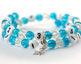 Nursing bracelet on memory wire 55mm with glass beads form cracked turquoise and transparent