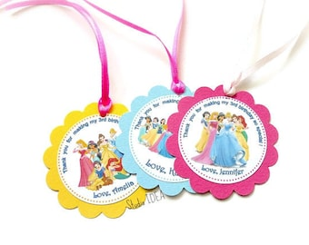 Customized Princesses Thank you Scallop Tags with or without Ribbon-Personalized Princess Tags- Sets of 12pcs, 24pcs
