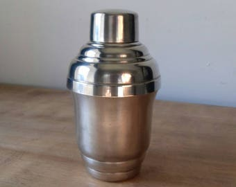 Small shaker vintage punched metal shaker silver Small stamped vintage silver metal