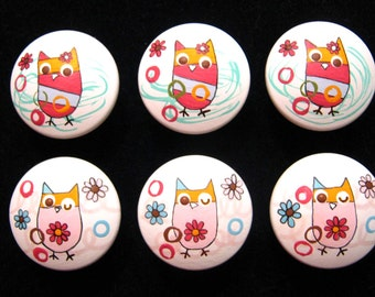 ZUTANO OWLS - Set of 6 knobs - Hand Painted