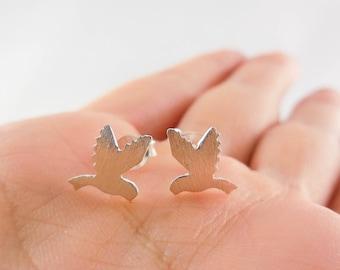 925 Sterling Silver Bird Earrings, 925 Sterling Silver, Bird Earrings, Bird Studs, Bird Earrings, Matt Earrings, Bird Jewelry