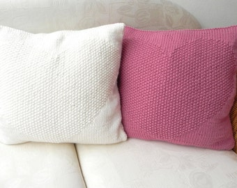 Knitted Pillow knit pillow heart pillow shabby brainer