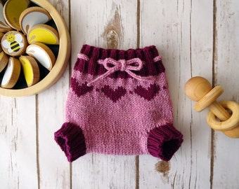 NEWBORN Little Hearts Wool Cloth Diaper Cover, Hand Knit Cloth Diaper Cover, Girl, Pink, Magenta, Soaker, Wooly, Shorty