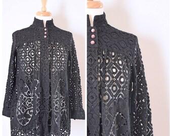 Vintage Bed Jacket / Lace Bed Jacket / Sleepwear / Lace Lingerie / Lace Robe / Black / Vintage Loungewear / Lace Topper / Size Medium