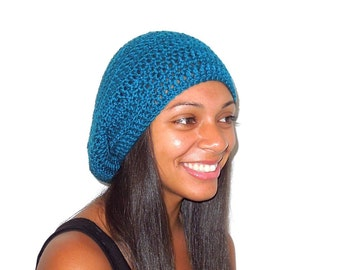 Slouchy Hat, Crochet, Women,Teen, Men, Teal, Unisex, Tam, Ready To Ship,,