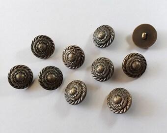 15x Antique Bronze Shank Vintage Hole Buttons 25x25mm