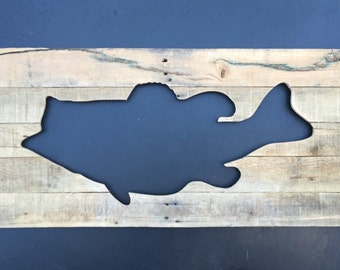 Large, Rustic Largemouth Bass Cutout from reclaimed wood, home decor silhouette