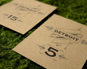 Detroit Logo Lettering Table Numbers Wedding Party Craft Paper Antique