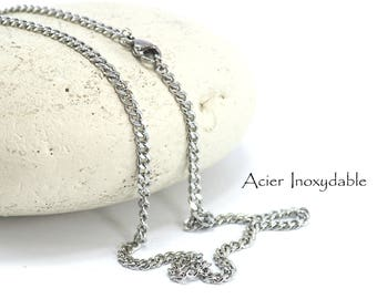 Necklace is 61 cm in stainless steel - curbed - links: 3 x 3 mm - silver plate