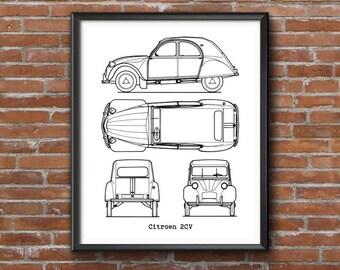 """Citroen 2CV Blueprint, Citroen 2CV, Citroen Decor, Citroen 2CV gifts, Car Blueprints, Instant Download, Classic Citroen 2CV, 8x10"""", 11x14"""""""