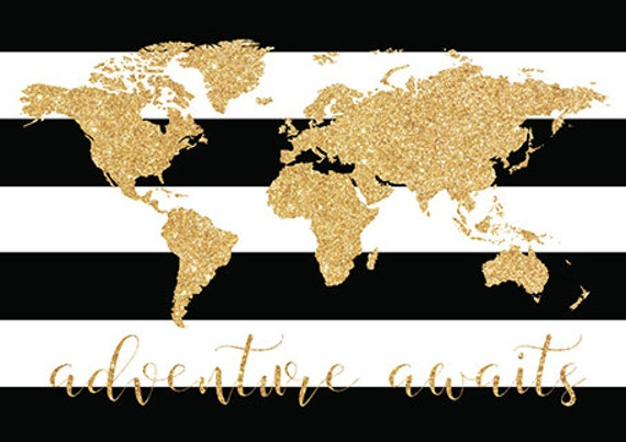 Black white gold decor world map adventure awaits gold black white gold decor world map adventure awaits gold nursery decor gold nursery nursery prints black and white nursery poster size gumiabroncs Image collections