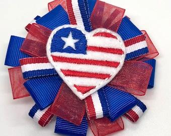 Red White Blue Flag - USA - Hair Bow Clip