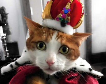 Cat Birthday Crown for cat or dog, The Crown Jewels, King costume  and reversible dalmatian leopard print collar for dogs and cats