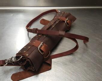 Kodiak leather knife roll