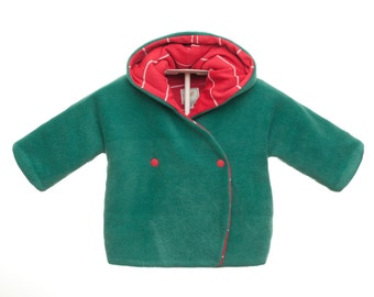 Handmade Jacket for Baby and Toddlers made of fleece. Warm and cozy coat with jersey. Sizes NB -> 4T - GIRA PETR - Alua Liulé