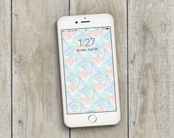 iPhone Wallpaper, iPhone Lock Screen, Phone Wallpaper, Phone Screen, Seashell iPhone Wallpaper, Beachy Summer Vibes Phone Wallpaper