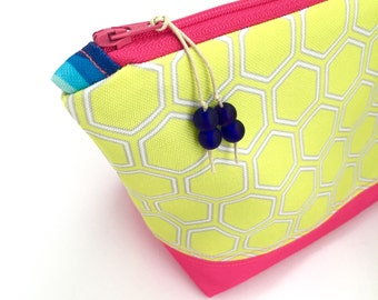 Yellow Honeycomb Large Cosmetics Bag, Eco Zipper Pouch, Geometric Diaper Bag Organizer, Recycled Make Up Bag, Glass Beads, Pink Holiday Gift