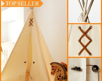Canvas Kids' Teepee Play Tent - Brown Suede & Natural Horn Details,  Tipi, Play Tent, Kids Teepee, Childrens Teepee, Playhouse