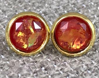 Red Fire Opal Earrings - Opal - Fire Opal Earrings - Faux Opal - Stud Earrings -  Fire Opal Jewelry - Earrings - Opal Jewelry - Red Jewelry