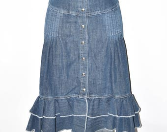 "Blue Denim LISA CAMPIONE Ruffle Hem Popper Front Jeans Skirt Size W30"" L23"""