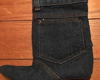 Vintage Denim Boots 80s Women's Size 5