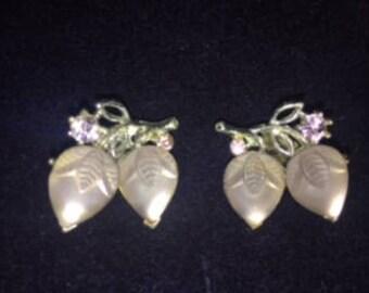 Vintage Lisner Earrings Lavender Clip on Earrings with Rhinestones