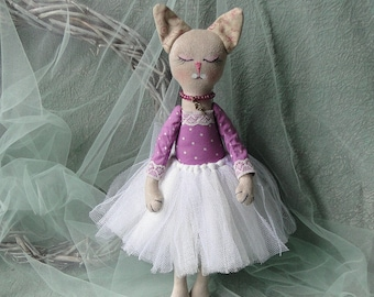 ooak cat doll rag fabric cloth art dolls plush toy primitive soft sculpture figurine housewarming gift for her nursery decor home decoration