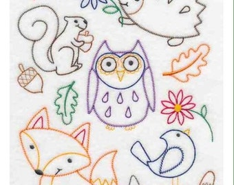 Woodland creatures owl hedgehog fox squirrel embroidered hoody autumn style made to order in your size/colour super cute