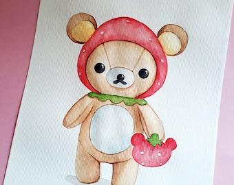 Kawaii bear , ORIGINAL Watercolor painting , children wall art , Kawaii Art , Animal Watercolor , cute painting , Nursery wall art , A4
