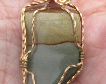 Picture Jasper  Pendant, wire wrapped in twised Bronze wire