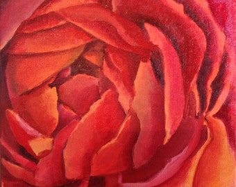 """SALE 50% OFF Original Acrylic Abstract Floral  painting- Ranunculus 12"""" x 12"""""""