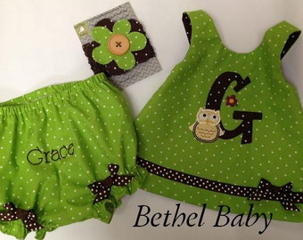 Owl Custom Polka Dot Criss-Cross Top and Personalized Bloomers with Hair Clip