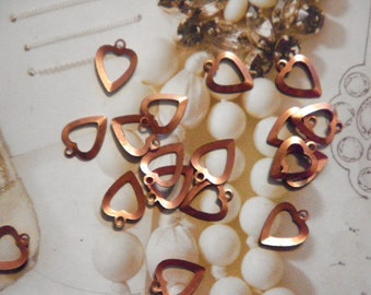 16 Coppercoated Heart Charms