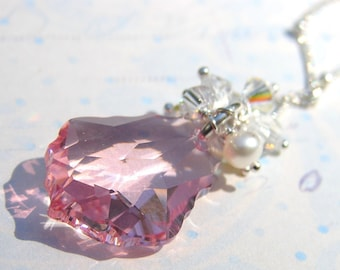 Pink Baroque Swarovski Crystal Pendant with Crystal and Pearl Droplets on Sterling Silver Chain