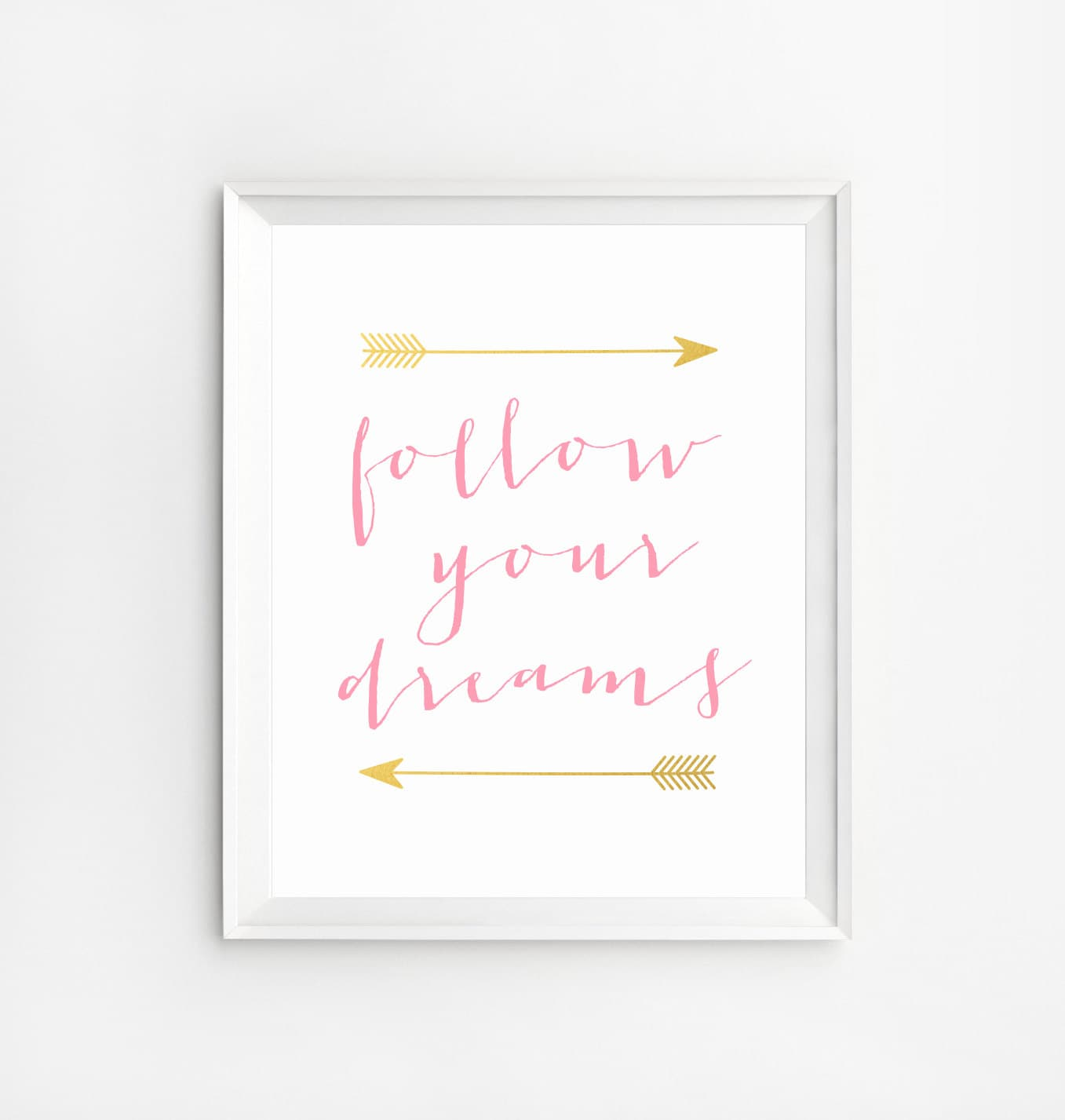 Quotes Wall Art Follow Your Dreams Print Glitter And Pink Wall Art Quote