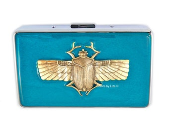 Metal Cigarette Case Scarab Inlaid in Hand Painted Turquoise Enamel Art Deco Inspired Metal Wallet Custom Colors and Personalized Options