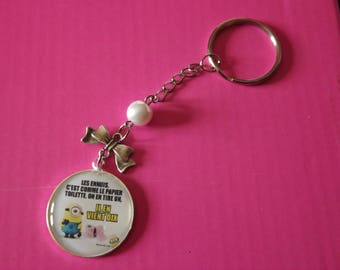 """Keychain cabochon""""humor""""with Pearl and bow"""