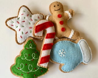 Set of 5 Felt Christmas Cookies